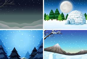 Set vinter scen vektor