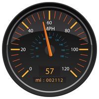 Meilen pro Stunde Kilometerzähler Kilometerzähler Automotive Dashboard Gauge Vector