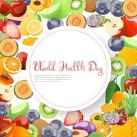 Fruktsamling för världens hälsodag. vektor