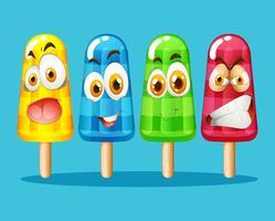 Popsicle med ansiktsuttryck
