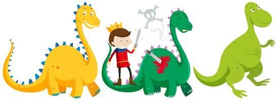 Prinz kämpft und tötet Drachen vektor
