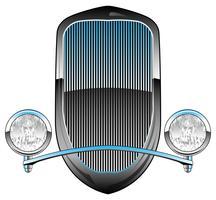Hot Rod-Autogrill der 1930er Jahre mit Scheinwerfern und Chrom-Ziervektor