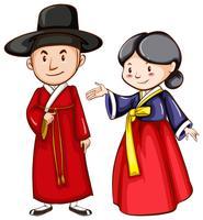 Ein Mann und eine Frau, die ein asiatisches Kostüm tragen