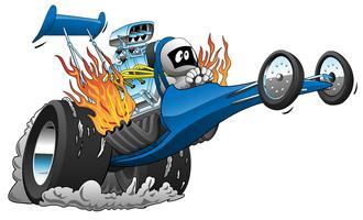 Topp Bränsle Dragster Tecknad Vektor Illustration