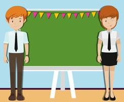 Mann und Frau vor Tafel