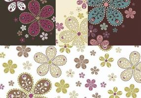Dekoriert Blumen Banner Vektor Pack