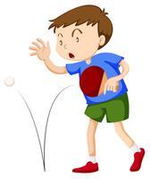 Junge playint Tischtennis vektor
