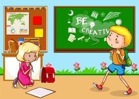 Barn som studerar i klassrummet vektor