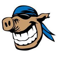 Nettes lächelndes Schwein mit Sonnenbrille und Bandana-Karikatur-Vektor-Illustration