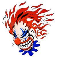 Verrückte furchtsame Clown Cartoon Vector Illustration