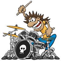 Wilder Schlagzeuger Playing Drum Set Cartoon Vector Illustration