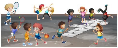 Många barn spelar olika sporter