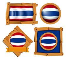 Flagg ikondesign för Thailand i olika former