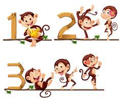 Affen und Nummer eins bis drei vektor