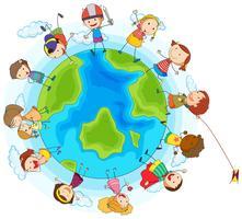 Massor av barn runt om i världen