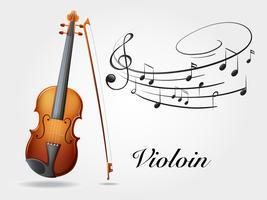 Violin och musik anteckningar på vit
