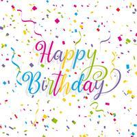 Grattis på födelsedagen bakgrund med streamers och konfetti vektor