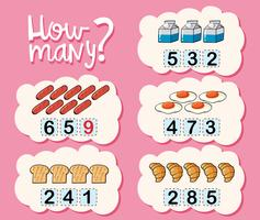 Hur många kalkylblad med olika typer av mat
