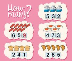 Wie viele Arbeitsblätter mit verschiedenen Arten von Lebensmitteln vektor