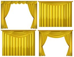 Gelbe Vorhänge in vier Ausführungen vektor