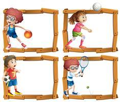 Rahmenschablone mit den Kindern, die Sport spielen