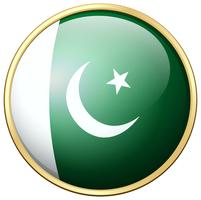 Pakistan-Flagge auf rundem Rahmen