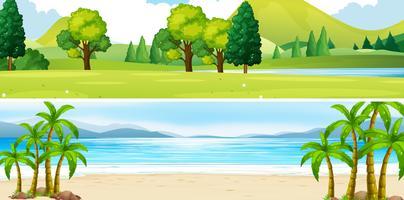 Två scener av park och strand vektor