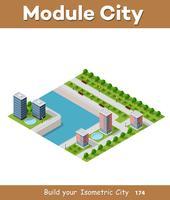 Isometrisk vektor illustration av en modern stad