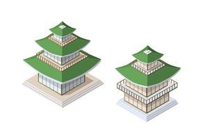 Kinesisk pagoda byggnad hus buddhist konst av vektor