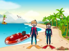 Två dykare och båt i havet vektor