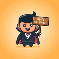 süßer Junge mit Smoking und schwarzem Umhang sieht aus wie ein Vampir und hält Holzbrett mit fröhlichem Halloween-Text auf orangefarbenem Hintergrund vektor