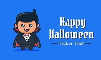 blaues fröhliches Halloween-Banner mit süßem Cartoon von Vampiren mit glücklichem Gesicht, das schwarzen Umhang trägt vektor