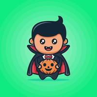 süße Vampirkarikatur mit schwarzem Umhang mit lächelndem Gesicht, das einen Kürbis in grünem Hintergrund hält vektor