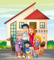 Familienmitglied vor dem Haus