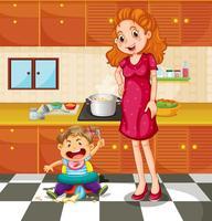 Småbarn och mor i köket vektor