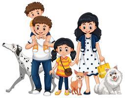 Familie mit zwei Kindern und drei Hunden vektor