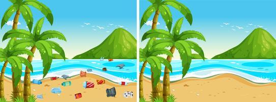 Före och efter strandrengöring