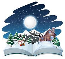 Öppna bok vinter utomhus tema