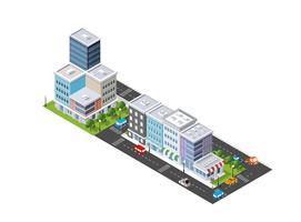 Isometrisk illustration av den moderna staden. Dimensionell