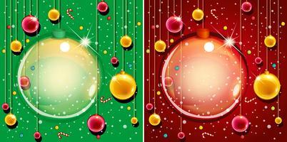Design mit zwei Hintergrund mit Weihnachtsverzierungen vektor