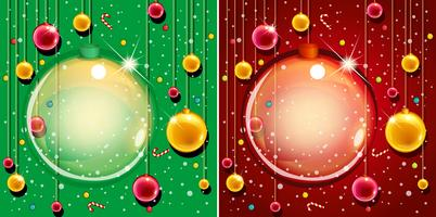 Två bakgrundsdesign med julprydnader vektor