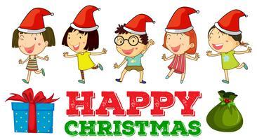 Jultema med barn i partyhattar