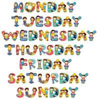 Font design för sju dagar i veckan med barn
