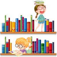 Två tjejer läser böcker vektor