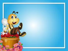 Gränsmall med bie sitter på rosor vektor