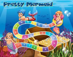 Brettspielvorlage mit Meerjungfrauen unter Wasser vektor