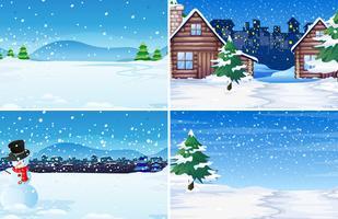 Sats vinter utomhus bakgrund vektor