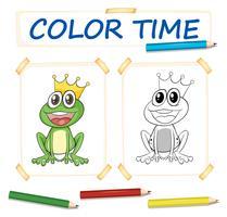Färgsmall med groda prins vektor