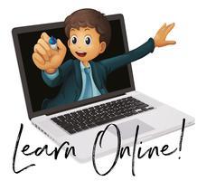 Ordfras för att lära sig online med lärare i laptop vektor