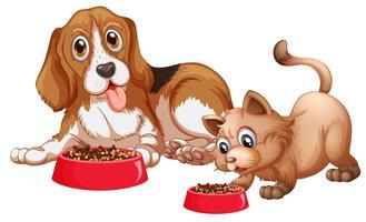 Hund och katt äter vektor
